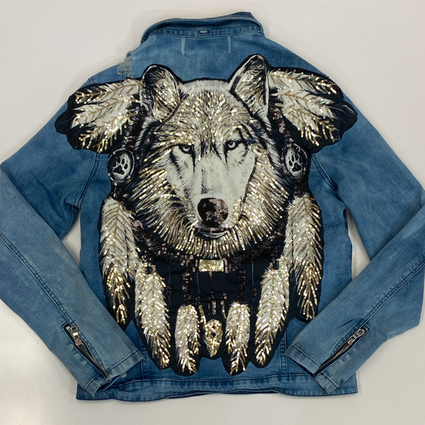 Rawyalty- shiny wolf jean jacket