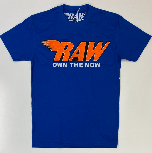 Rawyalty- raw chenille patch ss tee(blue/orange)