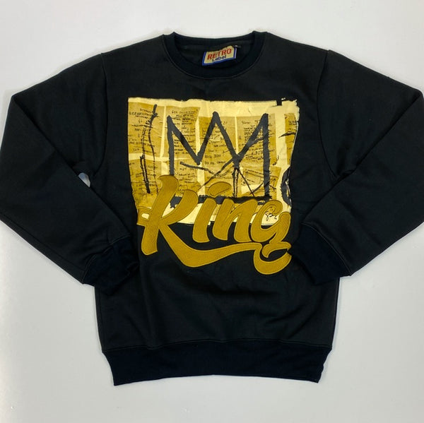 Retro Label- king black/gold crewneck