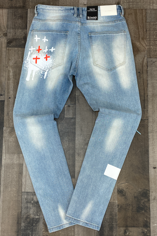 Kloud 9- denim pants w/skull patch
