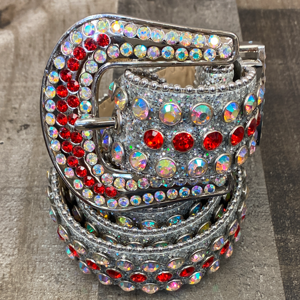 Dna Premium Wear- studded sparkly belt (silver/red)