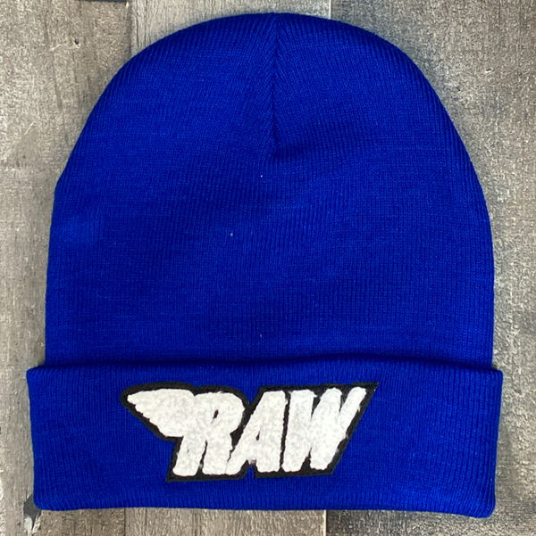 Rawyalty- raw chenille patch knit hat (blue/white)