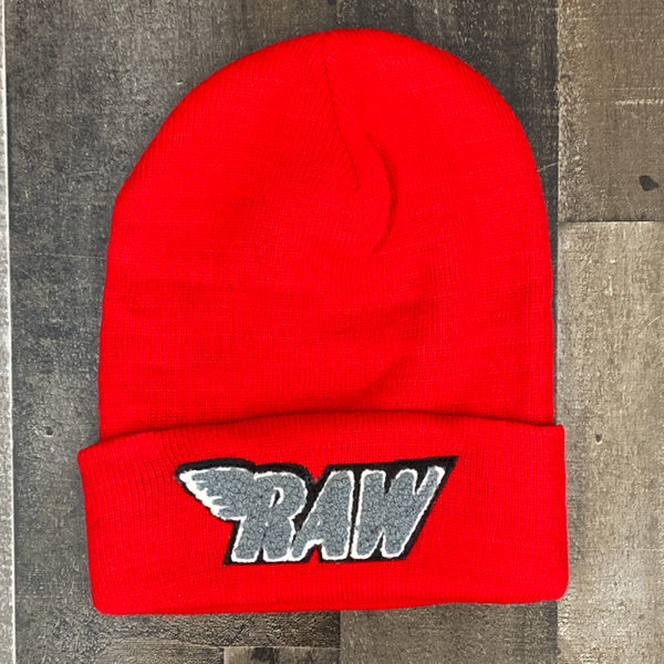 Rawyalty- raw chenille patch knit hat (red/grey)