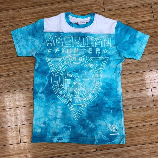 AMERICAN FIGHTER- WHITE/MIAMI AQUA CRYSTAL WASH HERZING SS FB TEE