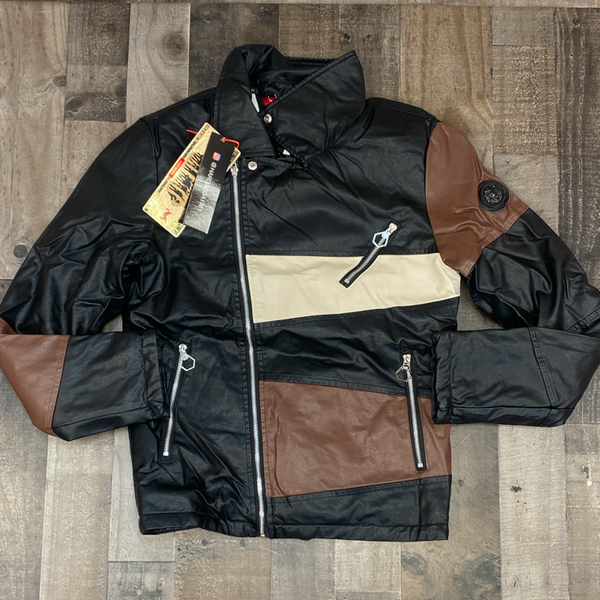 Hard Soda- leather color patch jacket (black/brown)