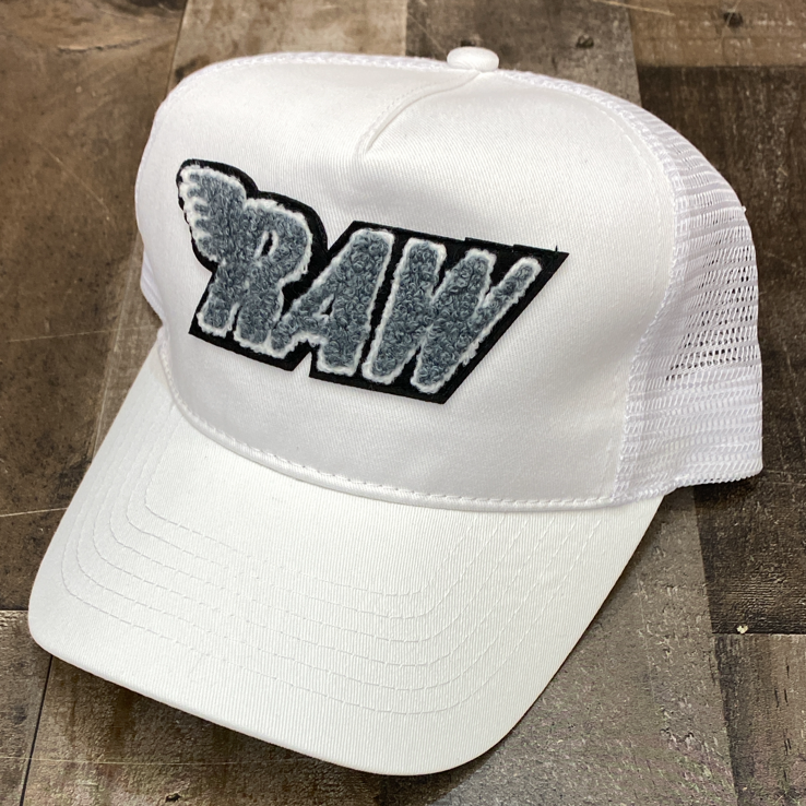Rawyalty- raw chenille patch hat (white/grey)