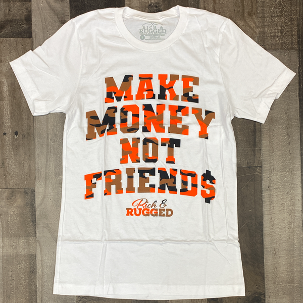 Rich & Rugged- make money not friends ss tee (white)