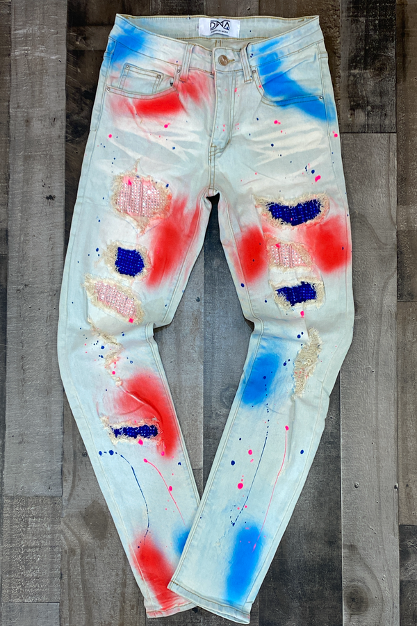 Dna Premium Wear- studded patch w/spray paint jeans (pink/blue/red)