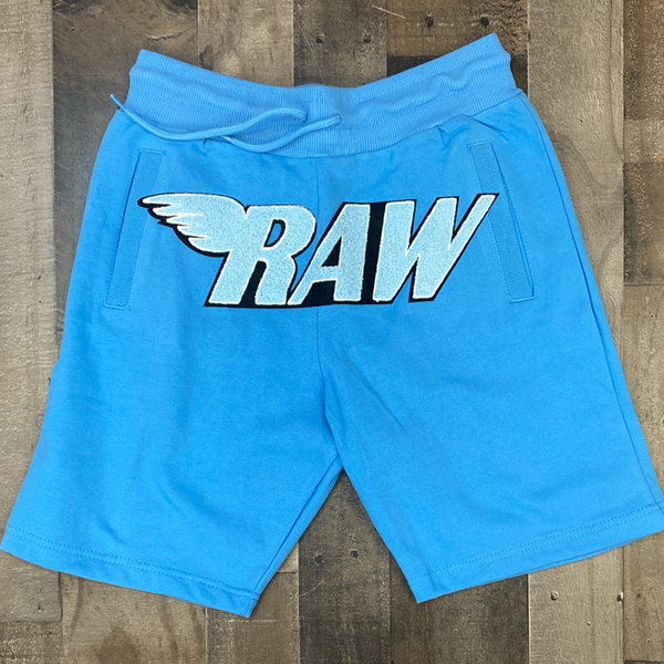 Rawyalty-raw chenille patch shorts (blue/white)