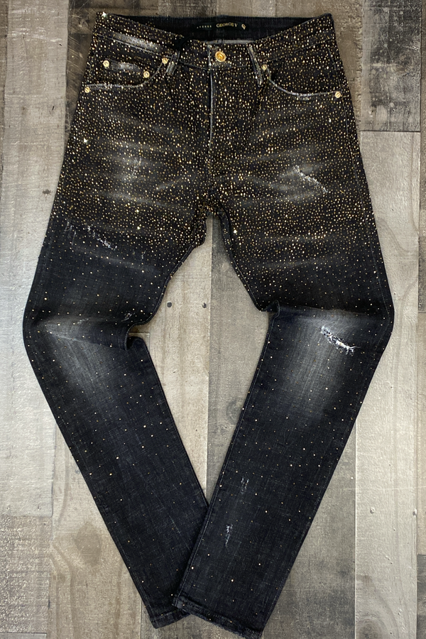 George V- studded skater jeans (black/gold)