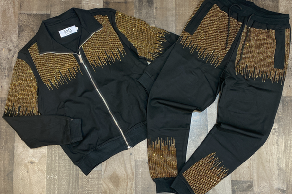 Dna Premium Wear- studded sweatsuit (black/gold)