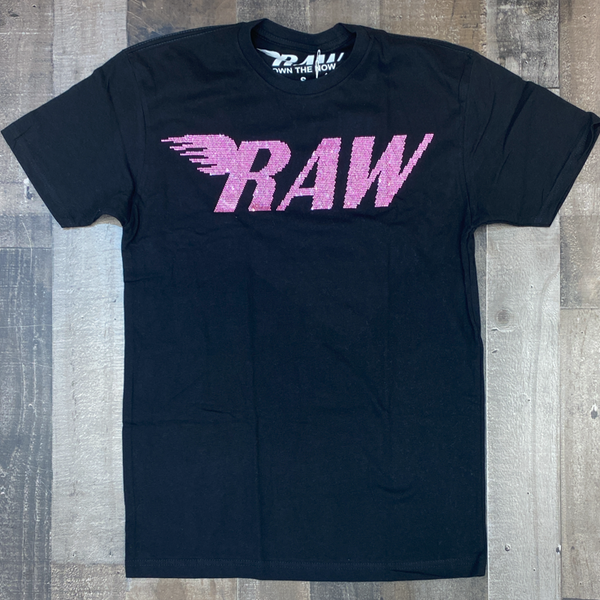 Rawyalty- studded raw ss tee (black/pink)