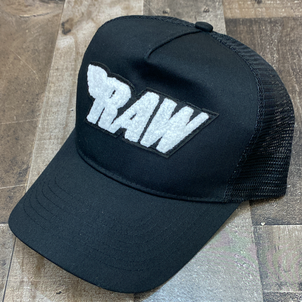 Rawyalty- raw chenille patch hat (black/white)