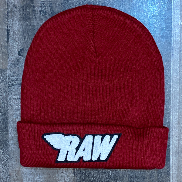 Rawyalty- raw chenille patch knit hat (burgundy/white)