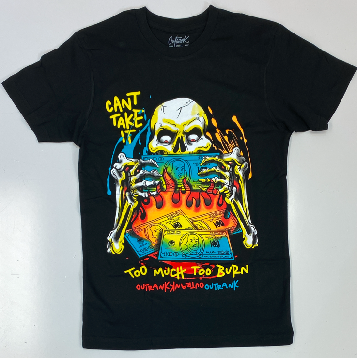 Outrank- too much to burn skull ss tee