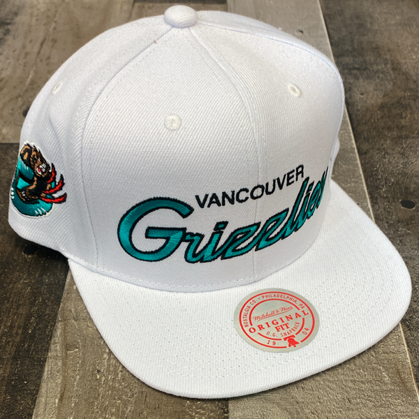 Mitchell & Ness- nba heritage script white snapback Grizzlies