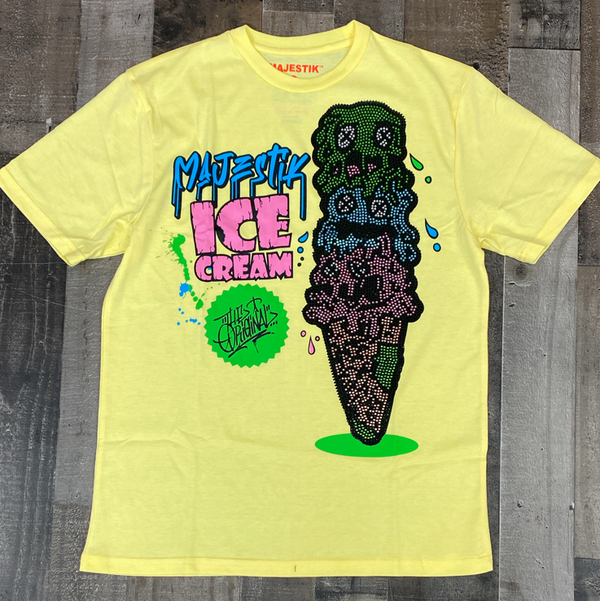 Majestik- ice cream rhinestone ss tee (yellow)