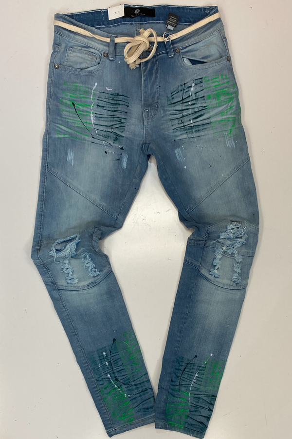 Focus- paint splatter shredded denim jeans