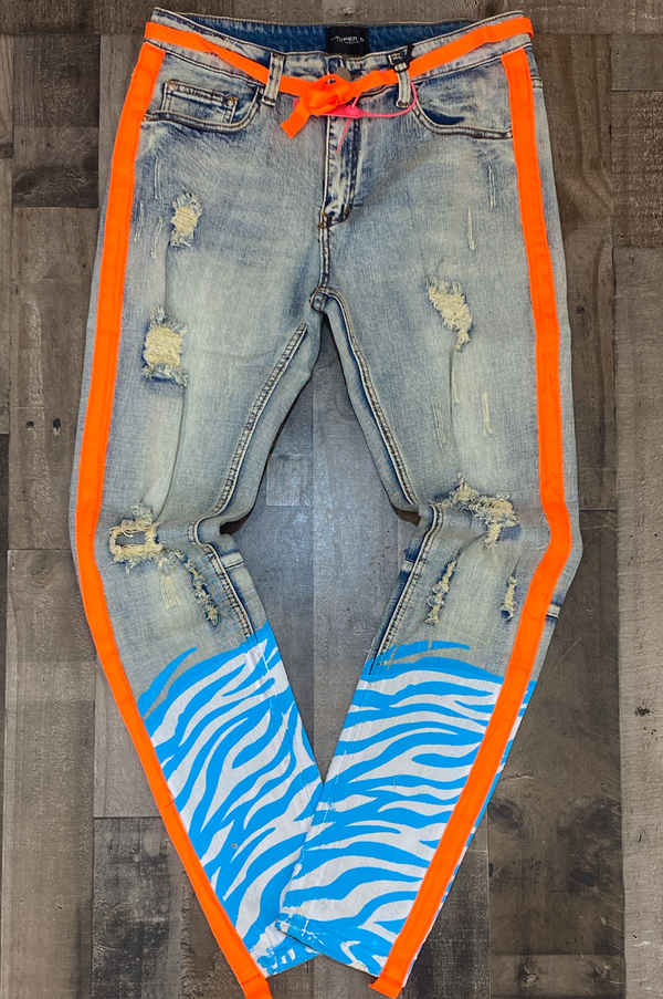 Cooper 9- zebra stripe denim light wash (baby blue/orange)