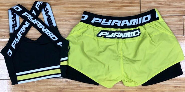 Black pyramid- logo tape shorts sets (women)