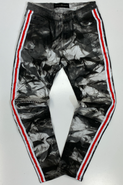 Rawyalty- denim tie dye grey red/white tape jeans