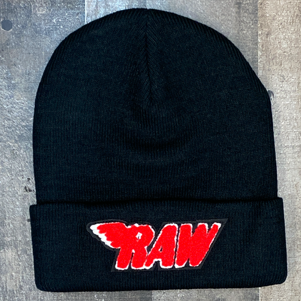 Rawyalty- raw chenille patch knit hat (black/red)