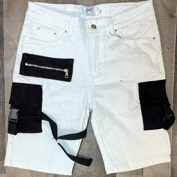 DNA premium wear- denim cargo shorts (white/ black pockets)
