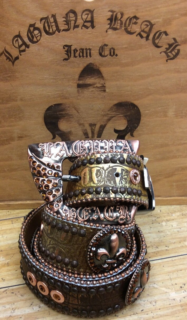 Laguna beach- crystal cove brown crocodile leather belt