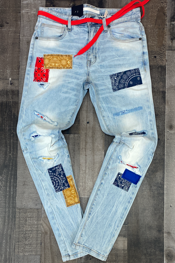 Kloud 9- premium span jeans w/bandana patches (lt.blue)