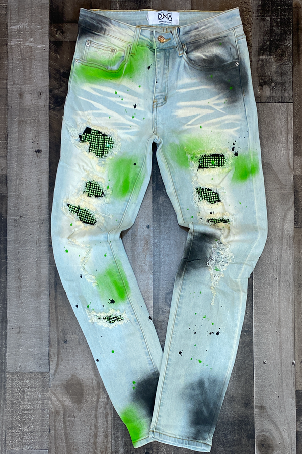 Dna Premium Wear- studded patch w/spray paint jeans (green/black)