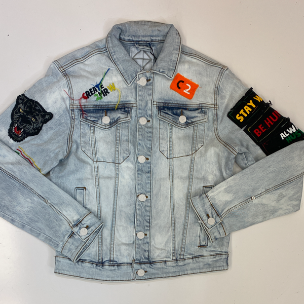 Create Tmrw- patched denim jacket