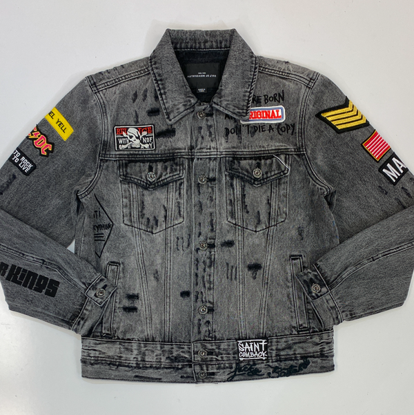 Cult Of Individuality- type 2 black graffiti denim jacket