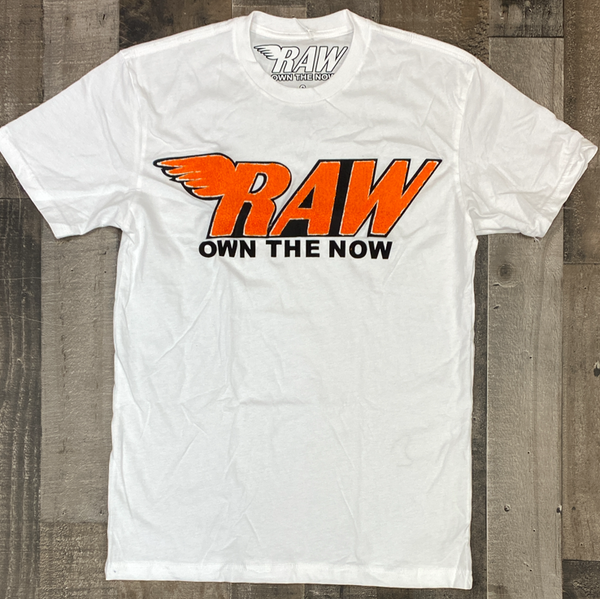 Rawyalty-raw own the now chenille patch ss tee (white/orange)