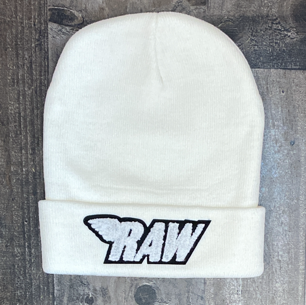 Rawyalty- raw chenille patch knit hat (cream/white)