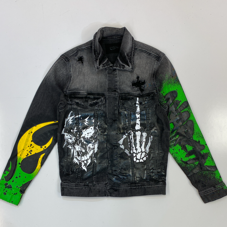 Mackeen- anarchy printed denim jacket (black)