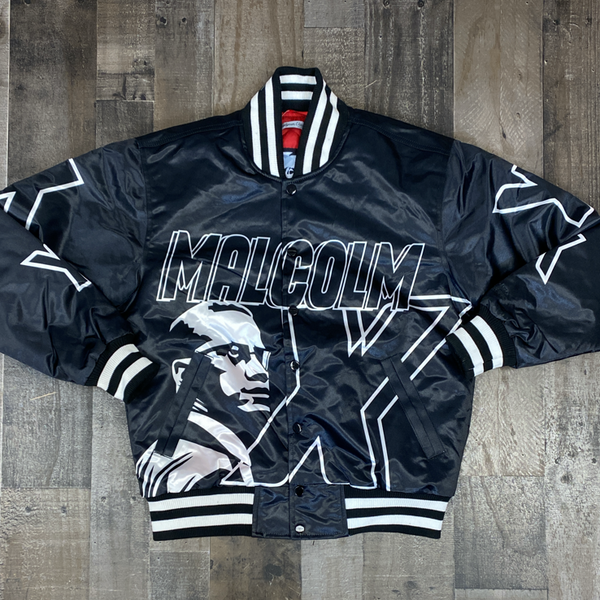 Headgear Classics- Malcolm X satin jacket (black/white)