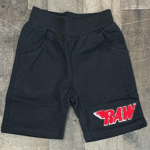 Rawyalty- raw chenille patch shorts (black/red) (kids)