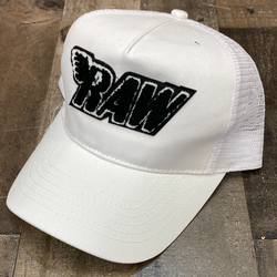 Rawyalty- raw chenille patch hat (white/black)