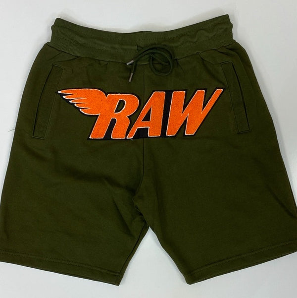 Rawyalty-raw chenille patch shorts (olive)