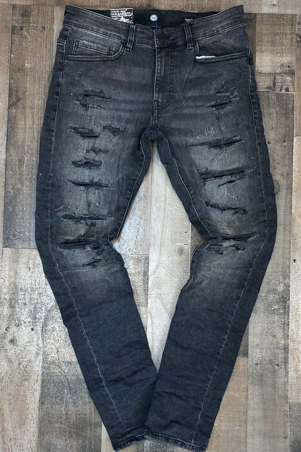 Jordan Craig- crinkled denim jeans w shreds