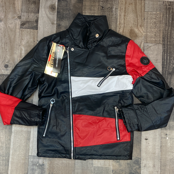 Hard Soda- leather color patch jacket (black/red)