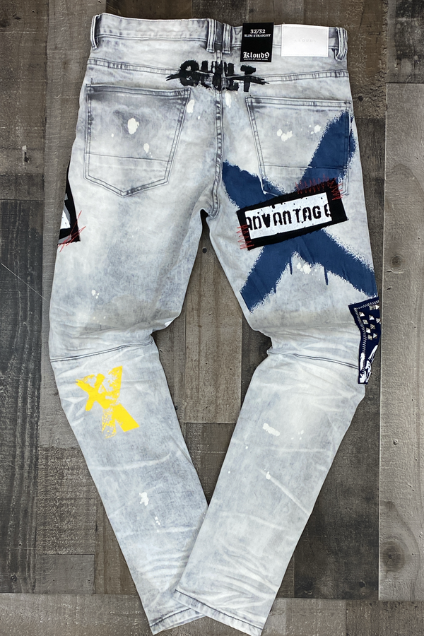 Kloud 9- denim pants w/ patch & metal studs