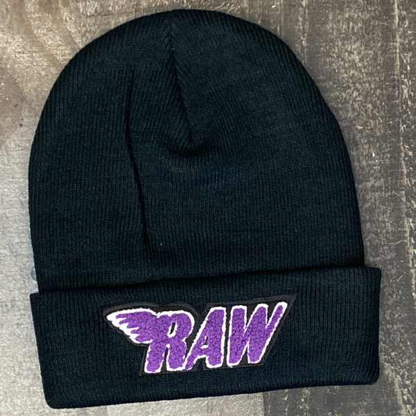 Rawyalty- raw chenille patch knit hat (black/purple)