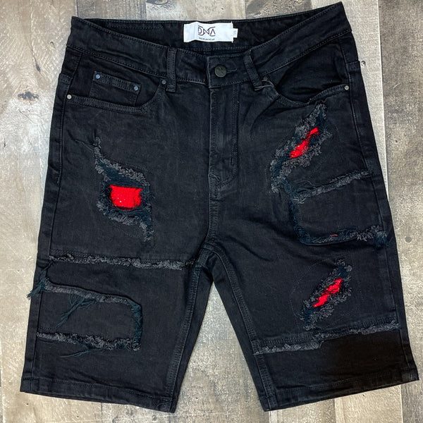 DNA premium wear- studded patched shorts (red studs)