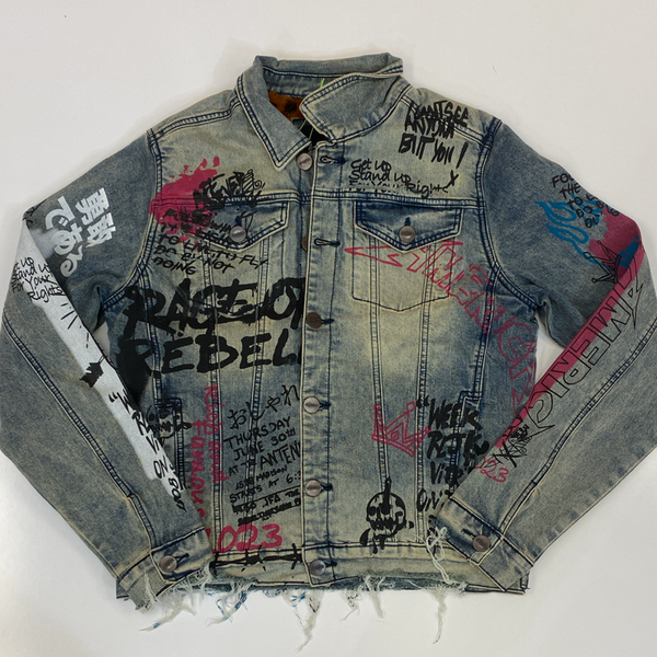 Majestik- graphic denim jacket w/leopard fur lining