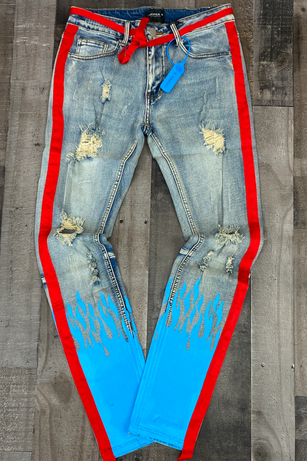 Cooper 9- flame stripe denim jeans (baby blue/red)
