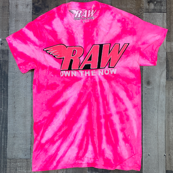 Rawyalty- tie dye raw chenille patch ss tee