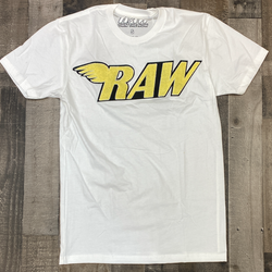 Rawyalty-raw chenille patch ss tee (white/yellow)