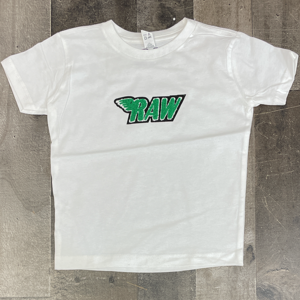 Rawyalty- raw chenille patch ss tee(white/green) (kids)