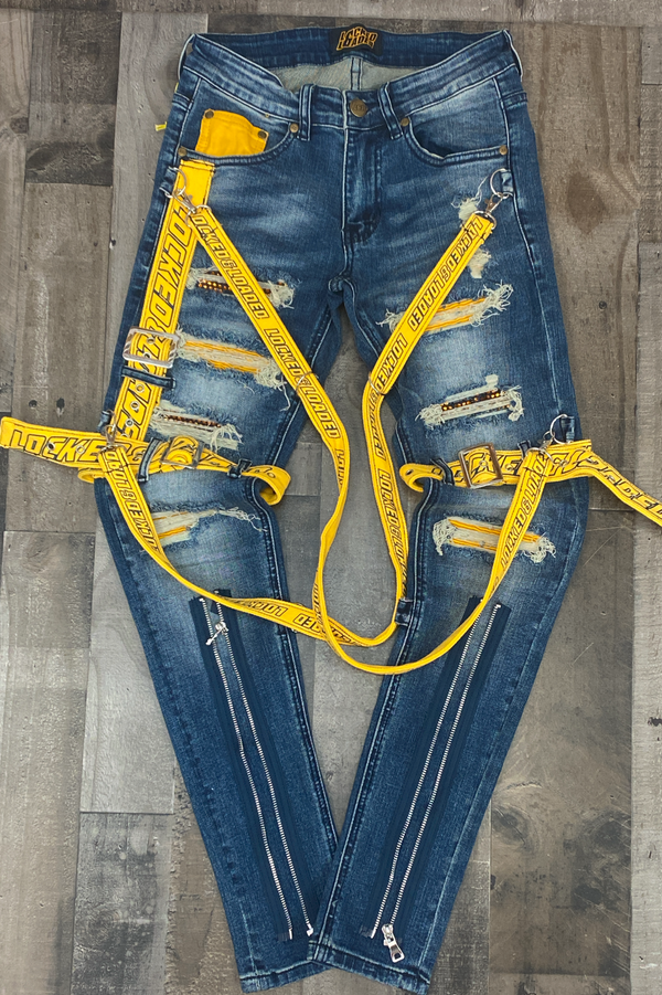 Locked Loaded- locked & loaded strapped jeans